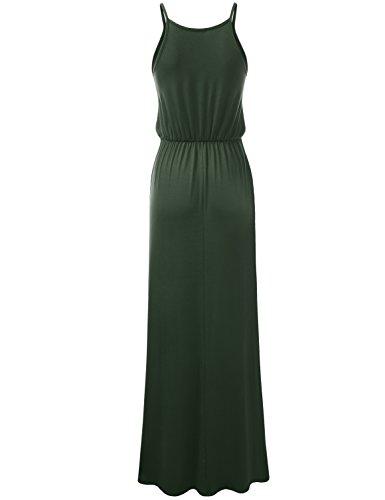 NINEXIS Sleeveless Womens Maxi Awdmd0229 Dress Waist armygreen Halter Pleated Slit Side Neck Twa5Tqcr6