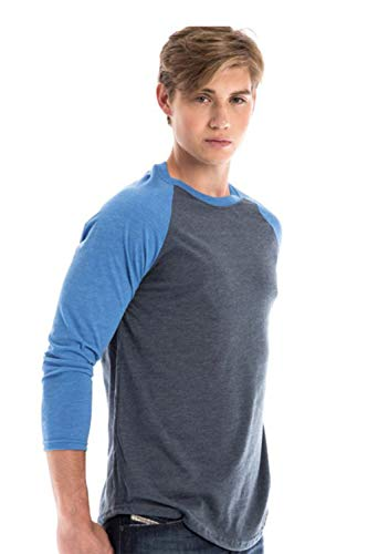 SpectraUSA Unisex Raglan Long Sleeve Cotton Baseball Tee 3/4 Sleeve for Men and Women (Royal Heather/Navy Heather, -