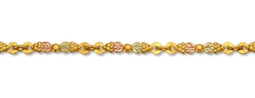 (Landstroms 10k Black Hills Gold Bracelet with 8 Clusters of Grapes and Leaves - G)