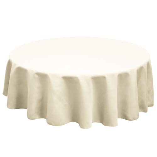 TableLinensforLess Polyester Round Tablecloth, 96 Inch Round, (Ivory) ()