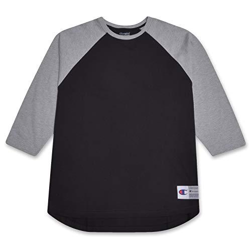 Champion Mens Big and Tall Raglan Baseball T Shirt Black/Heather Grey (Best Alternative Baseball Tees)