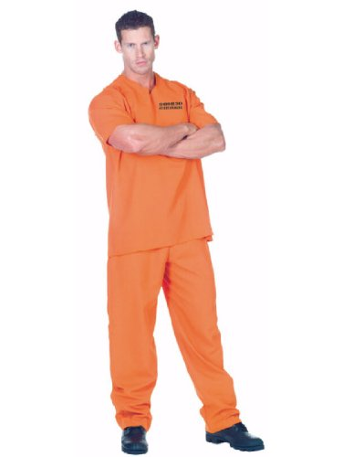 [Underwraps Men's Public Offender, Orange, One Size] (Last Minute Halloween Costumes Ideas For Adults)