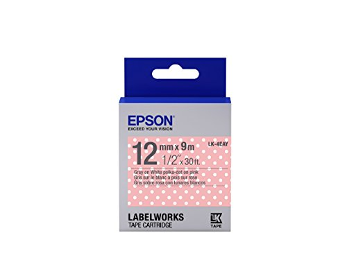 "Epson LabelWorks Standard LK (Replaces LC) Tape Cartridge ~1/2"" Gray on Pink Polka-Dot (LK-4EAY) - For use with LabelWorks LW-300, LW-400, LW-600P and LW-700 label printers"
