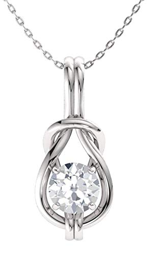 (Diamondere Natural and IGI Certified White Diamond Infinity Knot Solitaire Necklace in 14k White Gold | 0.40 Carat Pendant with Chain)