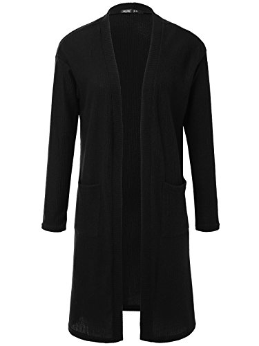 Cashmere Vintage Sweater (JayJay Women Vintage Casual Long Open Knit Cardigan With Two Square Pocket,Black,M)