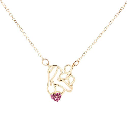 Trendy Mom Baby Rhinestone Love Necklace Crystal Heart Pendant Necklaces Mother Child Jewelry Mother Day Gift,Rose Red -