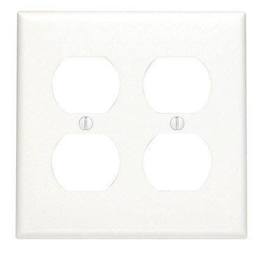 (Leviton 80716-W 2-Duplex Receptacle Standard Size Wall Plate, 2 Gang, 4.5 In L X 4.56 In W 0.22 In T 1-Pack White)
