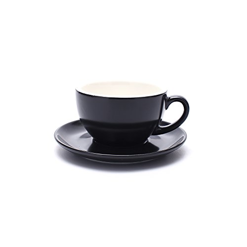 Coffeezone Double Espresso Coffee Cup and Saucer, Small Cappuccino and Speciality Coffee, New Bone China for Coffee Shop and Barista (Matte Black, 5 oz)