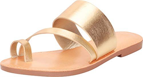 - Cambridge Select Women's Toe Ring Strappy Slip-On Flat Slide Sandal (7.5 B(M) US, Light Gold Pu)