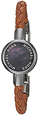 Michael Kors Unisex Crosby Grey Mother-of-Pearl Leather Tracker Bracelet