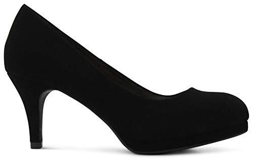 AFFORDABLE FOOTWEAR Women's Almond Toe Medium Heels Dress Shoes Memory Foam Cushion Comfort Pumps - (Black Nubuck) - 8 ()