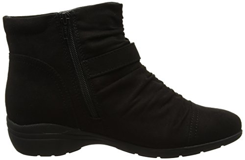 Black Ruched Evans Chelsea Botines Ankle Negro Mujer YHTZq
