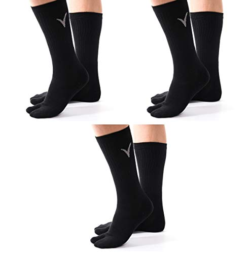 Split Toe Socks - 3 Pairs Combo V-Toe Athletic Flip Flop Socks - Tabi Black Solid Sports or Casual Wear Mens or Womens