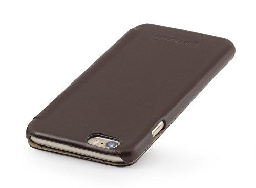 StilGut Book Type Case, Hülle Leder-Tasche für iPhone 6s Plus. Seitlich klappbares Flip-Case aus Echtleder für das Original iPhone 6s Plus (5,5 Zoll), Mahagonibraun Nappa