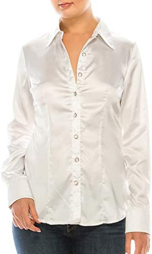 MAYSIX APPAREL Long Sleeve Satin Button Down Collar Office Formal Casual Shirt Blouse for Women Fit (S-3X)