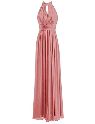 Bridesmaid Dresses Long Prom Dress Chiffon Halter Evening Gowns Pleat Wedding Party Dress
