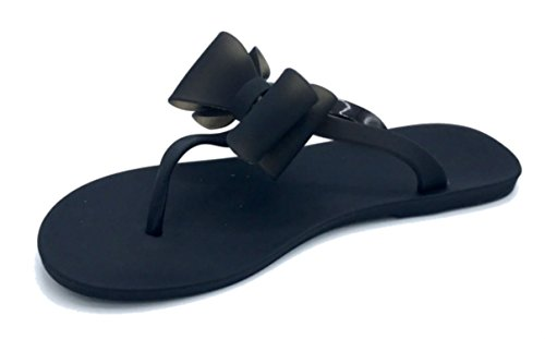 Vesto Girls Matte Jelly Sandal with Bow 11-12 M US Little Kid Black