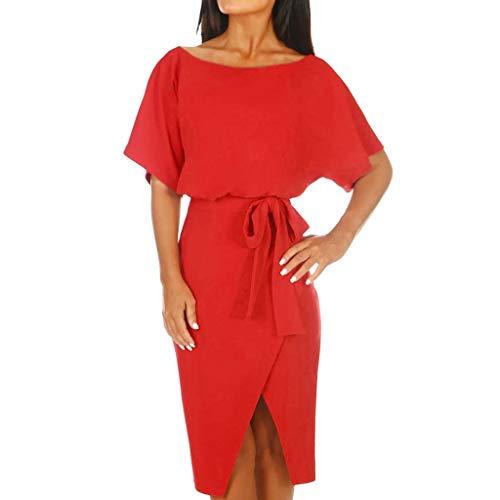 GREFER Women's Elegant Lantern Sleeve Short Sleeve Wear to Work Casual Pencil Dress with Belt Wrap Waist