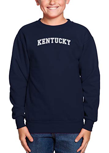 Kentucky - State Proud Strong Pride Youth Fleece Crewneck Sweater (Navy Blue, Small)