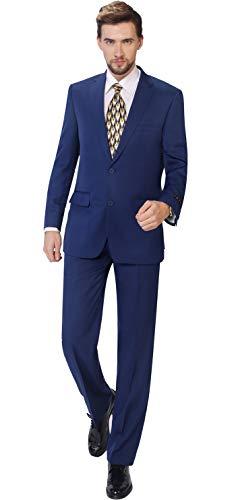 P&L Men's 2-Piece Classic Fit Single Breasted 2 Buttons Blazer & Trousers Suit Cobalt Blue (Pleated Trousers Suit)