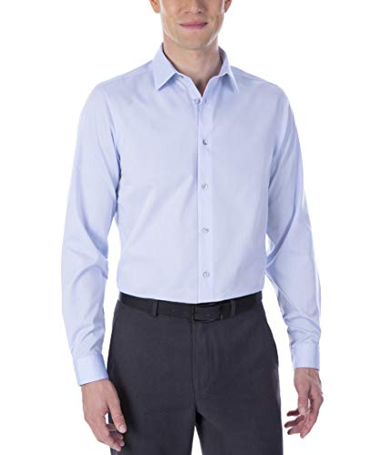 Calvin Klein Men's Dress Shirt Non Iron Solid, Blue, 15