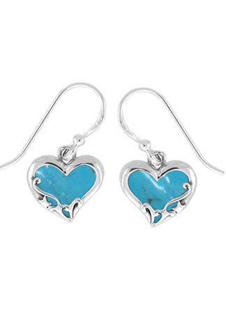 Sterling Silver Turquoise Heart Earrings (Boma Sterling Silver Turquoise Heart Earrings)