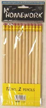 Pencils - No.2 lead - Natural barrel - 12 pack 48 pcs sku# 92910MA by DDI