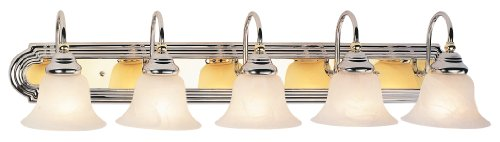 Drawing Room Collection Wall Bracket (Livex Lighting 1005-52 Belmont 5-Light Bath Light, Chrome and Polished Brass )