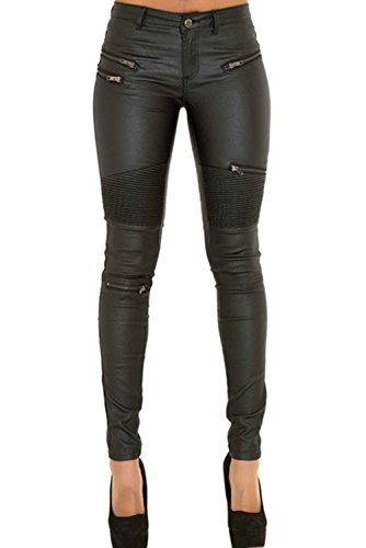 Cresay Women's Slim Fit Faux Leather Biker Pants Black Trousers-Black 44 -