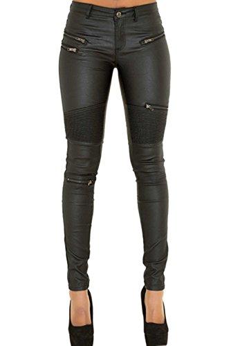 Cresay Women's Slim Fit Faux Leather Biker Pants Black ()