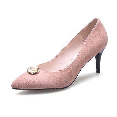 Talones de las mujeres Primavera Verano Otoño Invierno Fleece banquete de boda y vestido de noche del estilete del talón imitación perla hebilla Pink