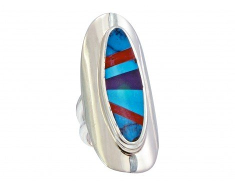 Multi-Stone Inlay Ring, Sterling Silver, Turquoise, Coral, Sugilite, 6 -