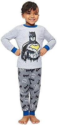 Jellifish Kids Boys 2 Piece Pajama Sleep Set, Cuffed Pant, All Over Print, Cotton, Batman