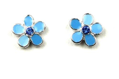 Krsnasworld® Boucles d'Oreille Enfant avec Swarovski® Elements - rhodium plaqué - Fleur bleu mix
