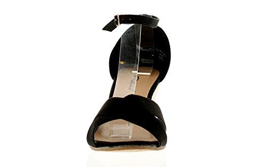 Platino Damen Keilabsatz Zehenfrei Sandale mit Knöchelriemen Verschluss Criss Cross Gurt zu Zehen und Kork Effekt Absatz für eine Sommerlich Feel Könnte sein Zusammen mit Jeans O