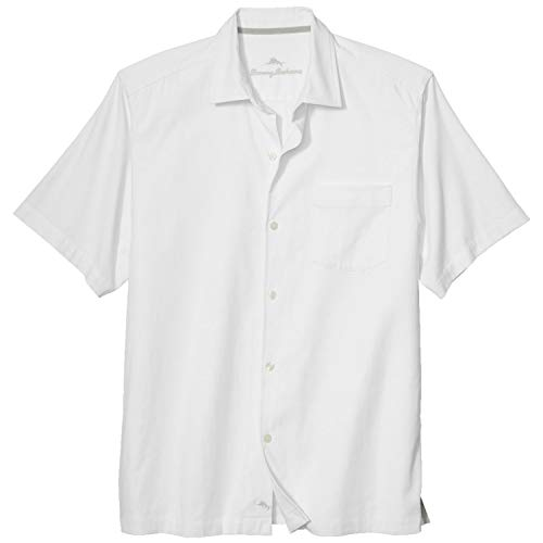 Tommy Bahama Men's Catalina Twill Stretch Camp Shirt (Medium, White)