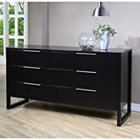 Modern 6 Drawer Dresser. This Fashionable Piece of Furniture Features a Luxurious Black Finish. Guaranteed to Look Amazing in Your Bedroom.