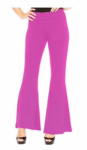 Red Hanger Women's High Waist Palazzo Bell Bottom Pants Regular and Plus Sizes, Fuchsia-XL ()