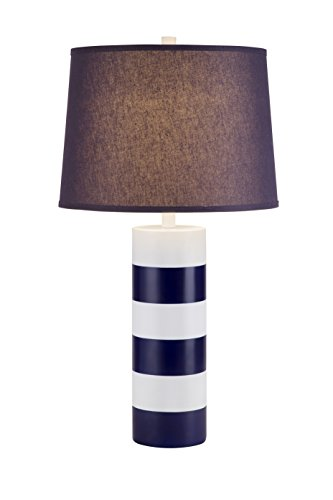 Spiral Resin Table Lamp - Catalina Lighting 19917-000 3-Way Nautical Navy and White Striped Table Lamp with Navy Modified Drum Shade, 28.5