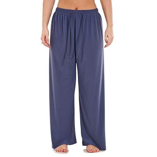 TIANMI Women Trouser Elasticated Pants Solid Casual Wide Leg High Waist Drawstring Regular Loose Leisure Long Pants Gray ()