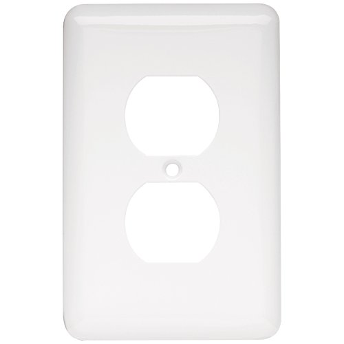 Receptacle Cover Plates - Franklin Brass W10249-W-C Stamped Round Single Duplex Wall Plate/Switch Plate/Cover, White