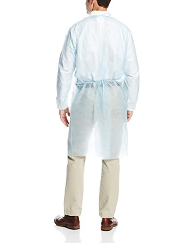 ValuMax 3230B Disposable Isolation Gown, Elastic Cuff, Tie Back, Knee Length, Splash Resistant, Blue, Regular Size, Case of 50 by Valumax (Image #2)