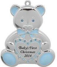 Boy Teddy Bear Ornament - Baby Boy Teddy Bear 2014 Babys First Christmas (Engravable) Harvey LewisTM Silver-plated Ornament - Made with 17 Swarovski® Elements