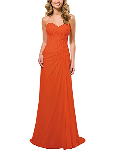 Ballkleid Cocktailkleid Abendkleid Chiffon Brautjungfer Partykleid Orange Kleid Linie A Lang 4wHTaT7q
