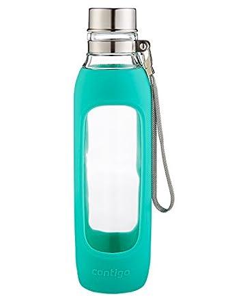 Contigo Purity Glass Water Bottle Jade Sleeve