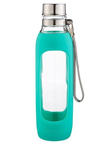 Contigo Purity Glass Water Bottle, 20oz, Greyed Jade