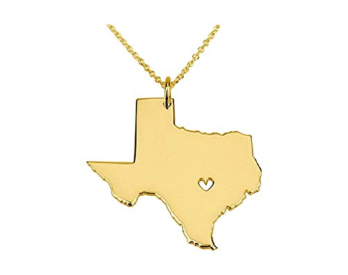 Lone Star Pendant (Art Attack Goldtone I Heart Texas Longhorn Lone Star State Outline Pendant Necklace)