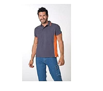 LOGICA Ropa Casual Polo Bicolor 100% algodón Gris y Naranja Talla ...
