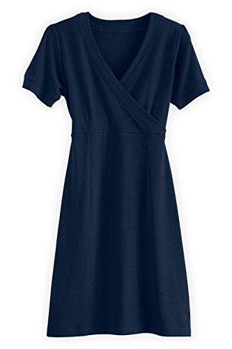 Fair Indigo Fair Trade Organic Faux Wrap Dress  M  Midnight Navy