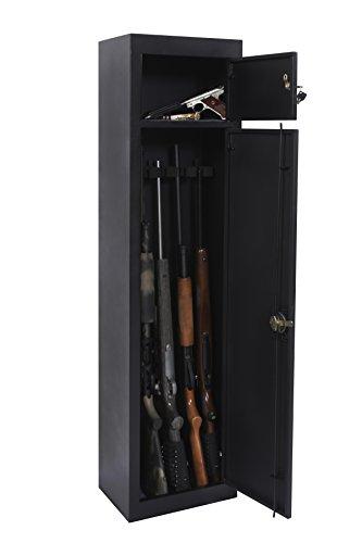 American Furniture Classics 906 Five Gun Metal Storage Cabinet with Separate Pistol Compartment